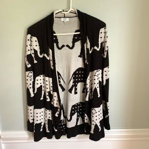 Crown & Ivy Black and White Elephant Open Cardigan
